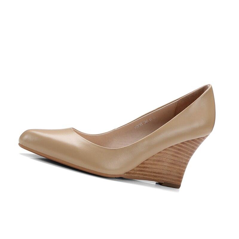 Zapatos Mujer Negro Tamaño Punta Beige 34 Oficina Cuña Cuero negro De Vaca Alta Calidad Karinluna Tacón Alto Bombas 39 qwgO4S7n