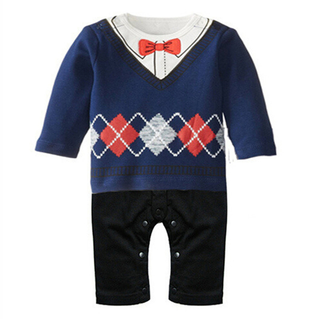 Toddler Baby Boy Rompers Spring Baby Clothing Sets Gentleman Roupas Infant Jumpsuits Baby Boy Clothes Newborn Baby Clothes