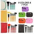 9 cores 7 Pcs pincéis de maquiagem profissional Definida kit Kabuki Maquiagem Cosméticos Escova ferramentas da Mulher/Fundação Escova para make up