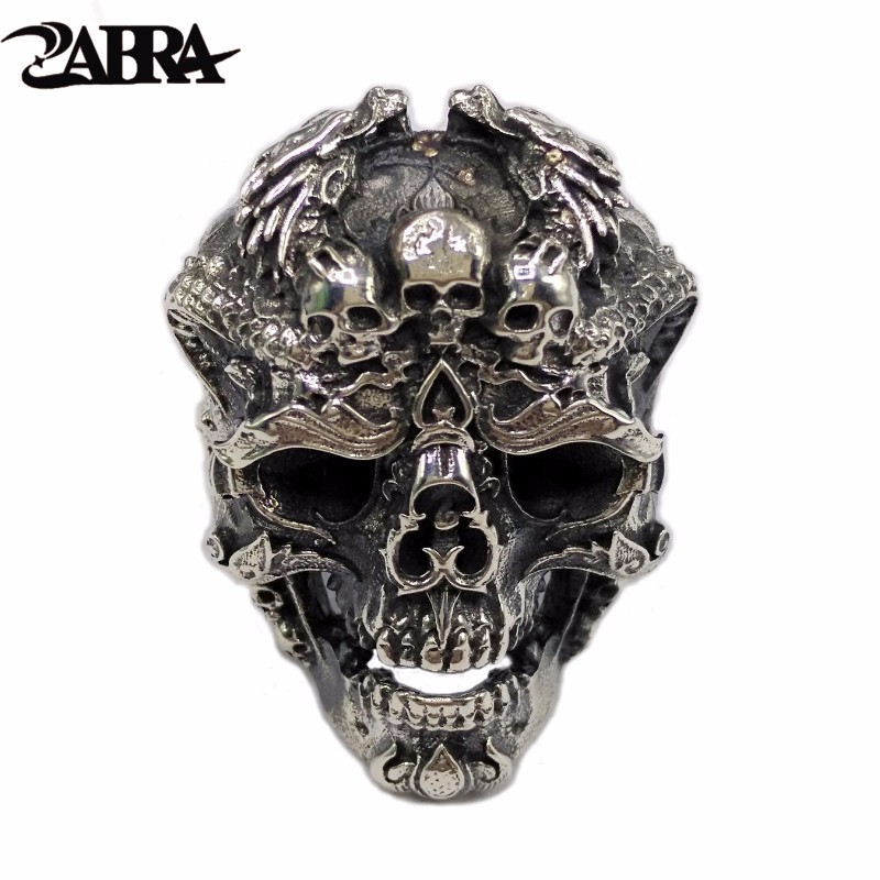 ZABRA Real 925 Sterling Silver Skull Ring Men Adjustable Dragon Ring Punk Rock Many Skeletons Mens