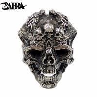 ZABRA Real 925 Sterling Silver Skull Ring Men Open Adjustable Dragon Ring Punk Rock Vintage Many