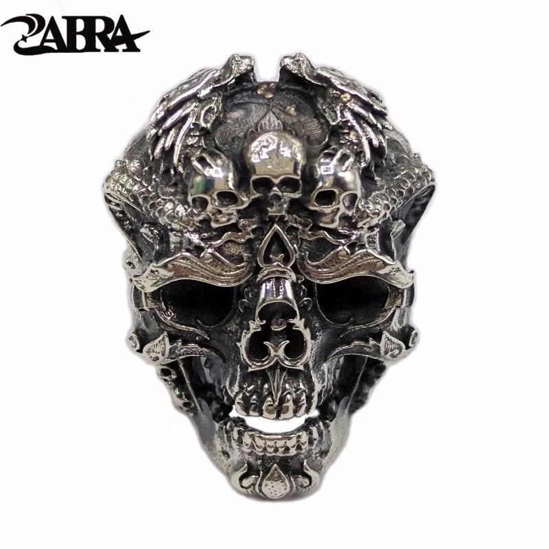 ZABRA Reale Dell'argento Sterlina 925 Dell'anello Del Cranio Degli Uomini Regolabile Anello del Drago Punk Rock Molti Scheletri Mens Gotico Dei Monili di Halloween