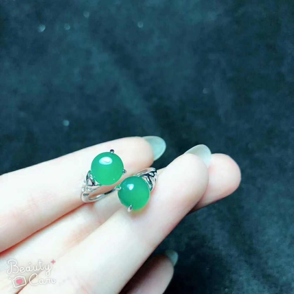 SHILOVEM 925 เงินธรรมชาติสีเขียวโมราแหวนคลาสสิก wholesale เปิดแหวนผู้หญิงของขวัญพรรค 2018 ใหม่ bj080801agys