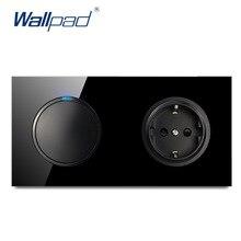 Wall pad L6 أسود خفف من الزجاج 1 عصابة 1 طريقة 2 طريقة التبديل مع الاتحاد الأوروبي مقبس الحائط الكهربائية الألمانية مخرج طاقة 16A تصميم دائري