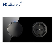 Wallpad L6 Black Tempered Glass 1 Gang 1 Way 2 Way Switch With EU Wall Socket Electrical German Power Outlet 16A Round Design