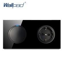 Wallpad L6 negro de cristal templado de 1 pandilla 1 manera interruptor de 2 vías con enchufe de pared de la Unión Europea eléctrico alemán de salida 16A diseño redondo