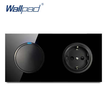 Wallpad L6 Black Tempered Glass 1 Gang 1 Way 2 Way Switch With EU Wall Socket Electrical German Power Outlet 16A Round Design - DISCOUNT ITEM  40% OFF All Category