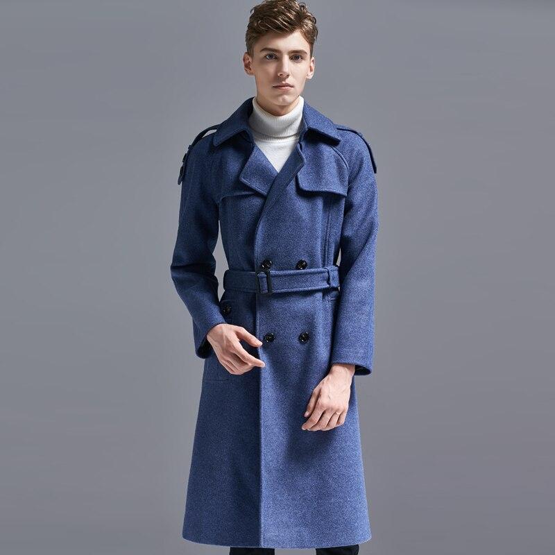 Качество бренда Для мужчин двубортный Зимняя шерстяная куртка длинный плащ пальто Для мужчин 2018 Новая мода ветровка плюс Размеры верхняя о