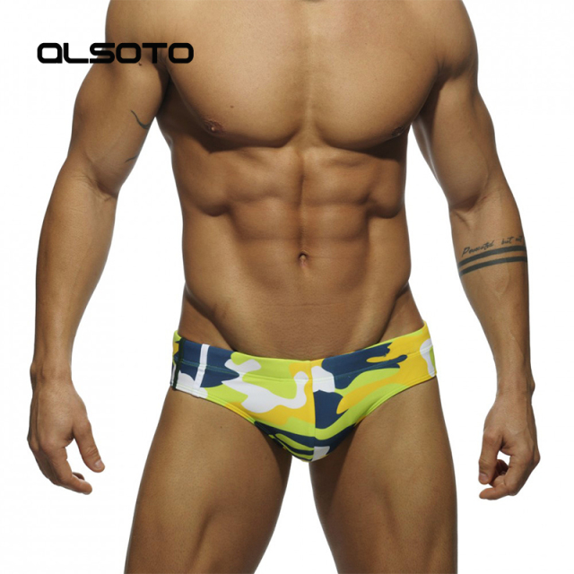 new man's Brand swimming Camouflage swimsuit swim trunks sexy low waist briefs swimwear boxers patchwork color hot sell Summer