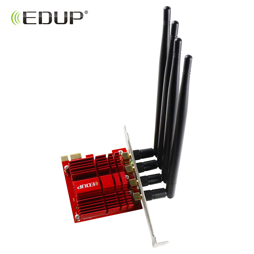 EDUP 1900Mbps 2.4/5GHz PCI Express Wireless WiFi Adapter 802.11AC Dual Band Desktop PCI E Adapter Network Card 4*5dBi Antennas-in Network Cards from Computer & Office