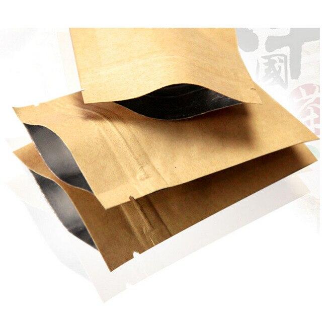100 шт 12 размер дой-Пак из крафт-бумаги сумка на молнии с алюминиевая фольга пищевая чай закусочный кофе хранения закрывающаяся застежка-замок/сумка на молнии