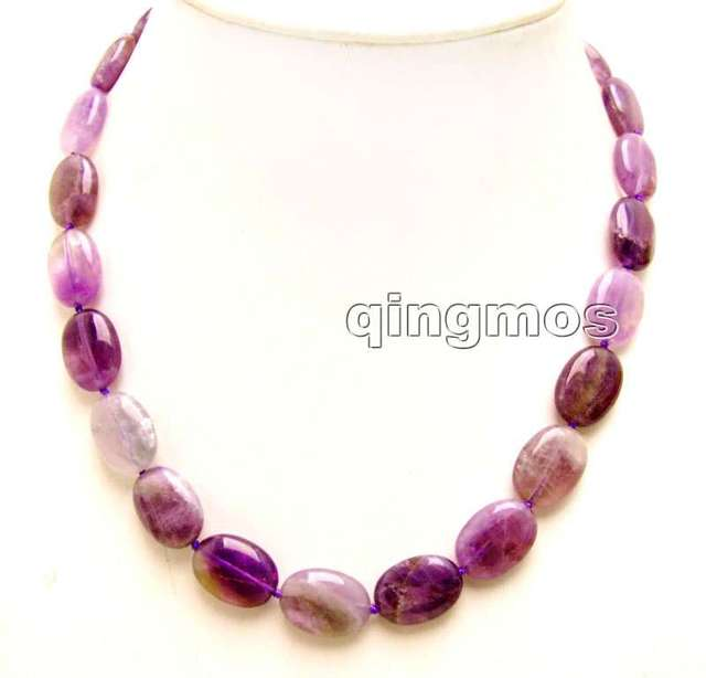 "SALE Big 18*25mm Oval high quality purple Amethyst 18"" necklace-nec5535_1  Wholesale/retail Free shipping"