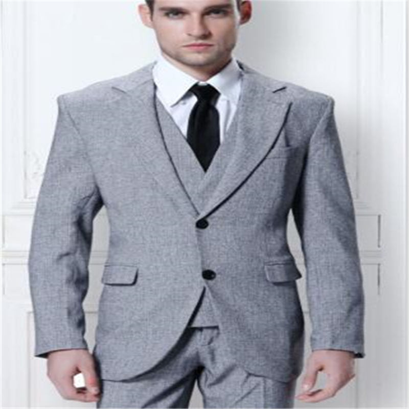 Grey Tweed Two Button Mens Suits 3 Pieces(Jacket+Pant+Vest+Tie) Wedding Custom Made Prom Masculino Trajes De Hombre Blazer