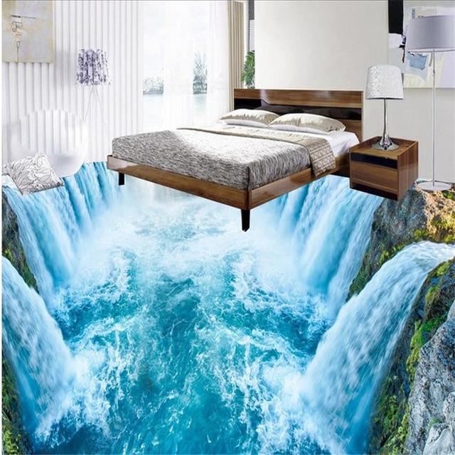 Beibehang Boden Tapete 3d Für Badezimmer 3d Wasserfall Küche Wohnzimmer  Boden Mural Pvc Wasserdichte Boden