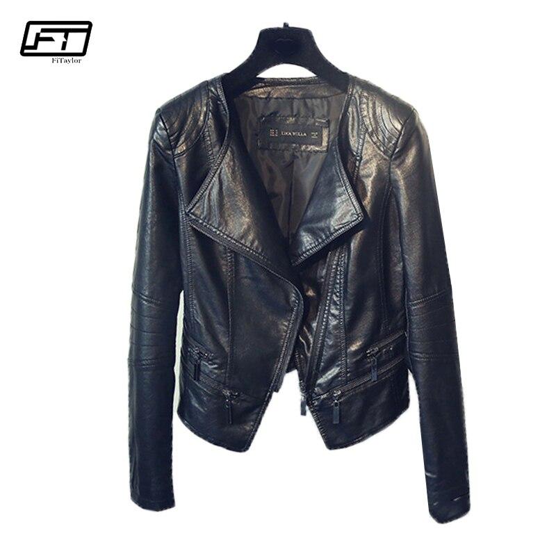 Fitaylor весна осень женские мотоциклетные кожаные куртки женские отложным воротником на молнии Тонкий черный мото & байкерская куртка женская ...
