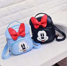 2018 sweet baby girls school bags candy color cartoon children backpacks kids satchel kindergarten bags with rabbit and micky mo купить недорого в Москве