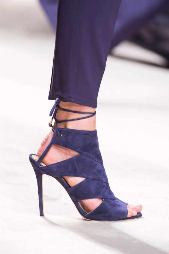 Abesire Female Cut-outs Peep Toe Summer Ankle Strap Sandals Boots Women Lace-up Blue Suede Dress Shoes Woman Slingback Shoes