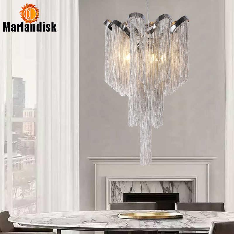 Современная алюминиевая Подвесная лампа, роскошные Алюминиевые цепочки G9, база, внутренние подвесные светильники для бара, столовой, гостиной, спальни (DQ-50)