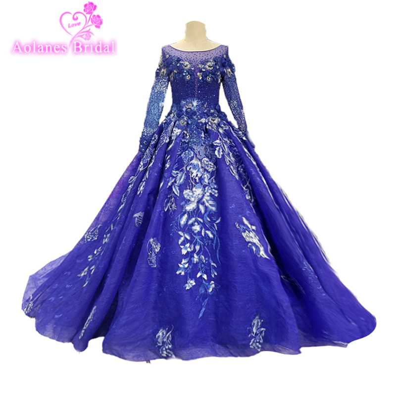 US $472.5 10% OFF|Long Sleeves Real Photo Vestidos de festa Plus Size Prom  Dress 2018 Ball Gown Long Sleeves Muslim Lace Navy Blue Dresses Vintage-in  ...