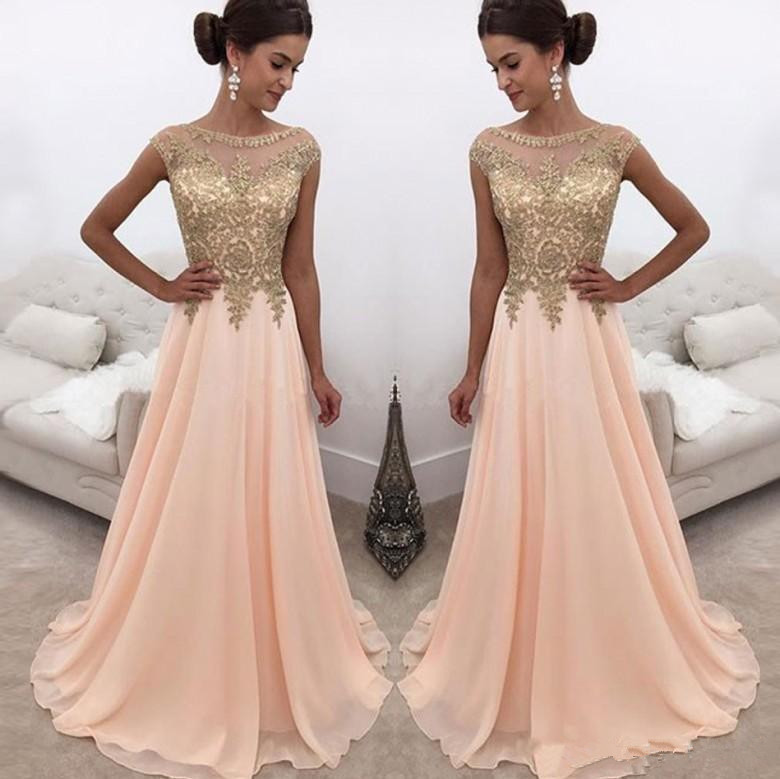 Blush Robe De Soiree 2019 A-line Cap Sleeves Chiffon Appliques Lace Sexy Long   Prom     Dresses     Prom   Gown Evening   Dresses