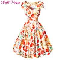 BP Stock Short Sleeve Hollowed Retro Vintage Rockabilly Dresses 2016 Cotton Floral Printed 50s Picnic Dress
