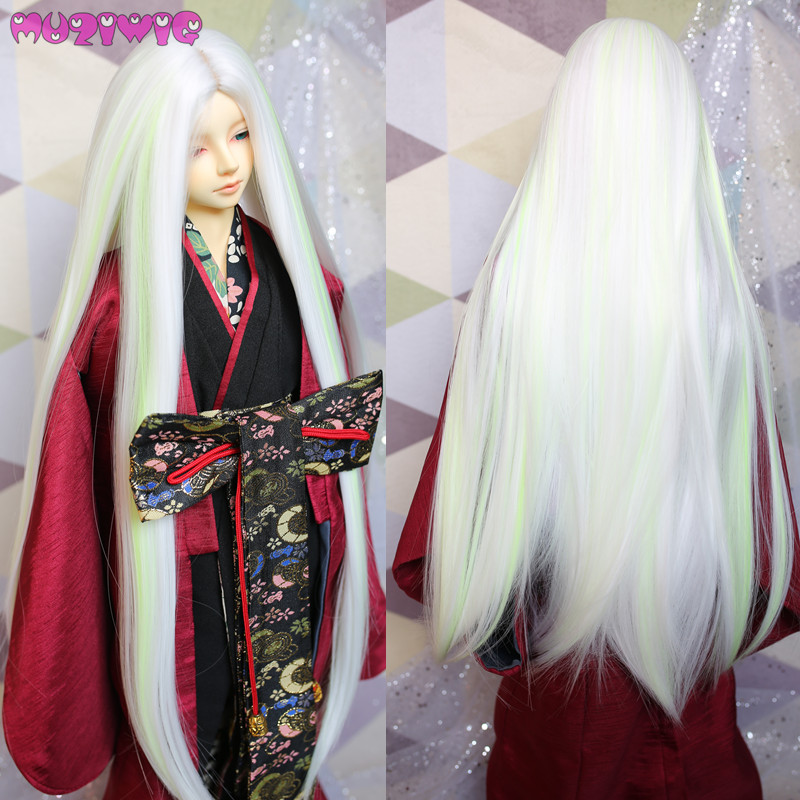 MUZIWIG Synthetic Ancient Style White Purple Green Silver grey Long Straight doll wig hair for bjd 1/3 dolls wigs accessories