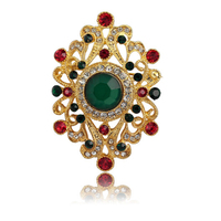 OMENG New Design Brooches For Women Wedding And Party Dress Colorful Rhinestone Brooches Bridal Pins Hijab