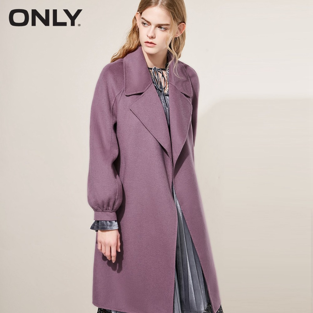 ONLY  womens' winter new double-sided wool with long woolen Tie-up belt Side pocket|11834S538