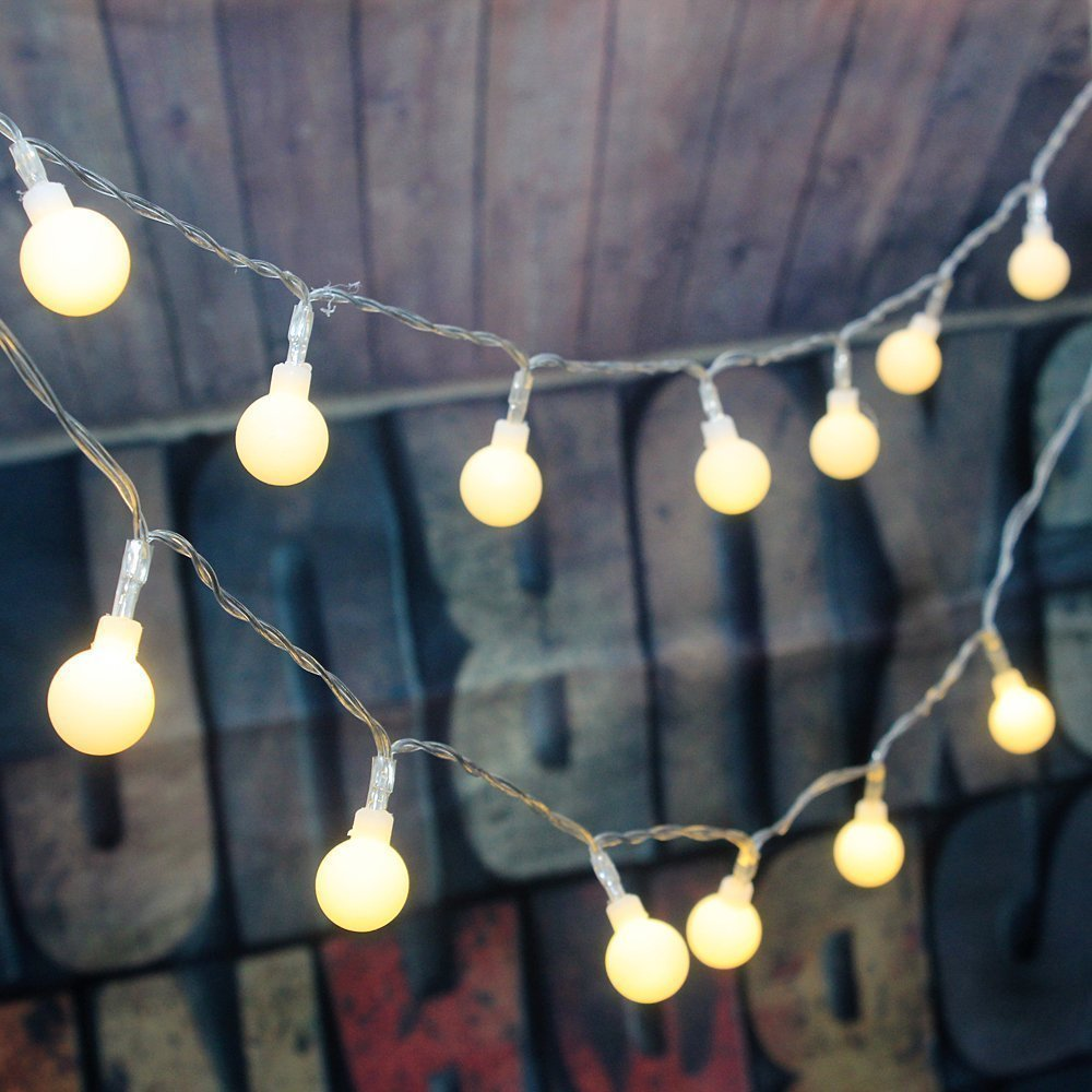 Remote Timer Waterproof 5m 50 Led Outdoor Globe String Lights 8 Modes Battery Operated Frosted White Ball Fairy Light Dimmable In From