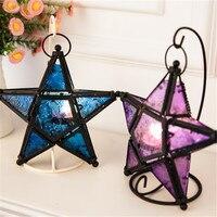 Europäischen stil eisen kunst Marokkanischen stil farbige glas fivepointed stern leuchter haushalt dekoration hochzeit bar liefert geschenk