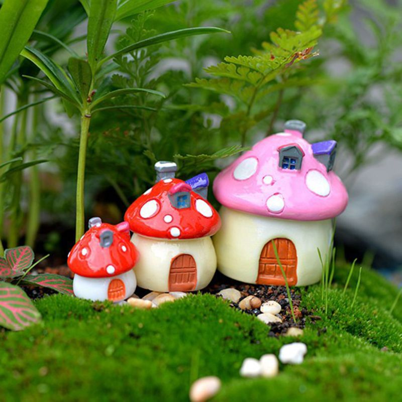 4Pcs Set Mushroom Resin Small House Creative Crafts Miniature Gardening Landscape Plant Pot Fairy DIY Ornament in Figurines Miniatures from Home Garden