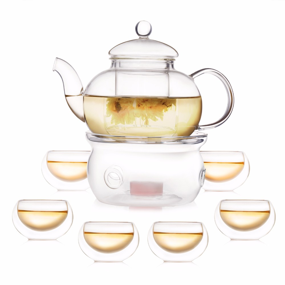 online buy wholesale modern tea set from china modern tea set  - modern pcs glass tea pot set infuser teapot   double wall tea cups warmer