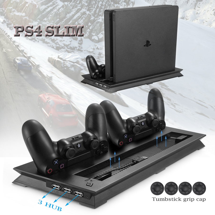 PS4 Slim Vertical Stand Cooling Fan Cooler & Dual USB Charger Charging Dock with 3 Extra HUB for Playstation 4 PS4 Slim + 4 Caps