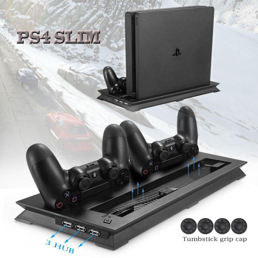 PS4 Slim Vertikalen Ständer Lüfter Kühler & Dual USB Ladegerät Lade Dock mit 3 Extra HUB für Playstation 4 PS4 Slim + 4 Caps