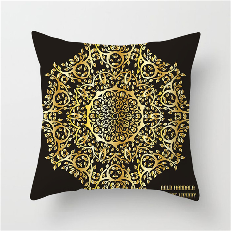 Fuwatacchi Ramadan Decoration Cushion Cover Print Golden Flower Pillow Cover Sofa Chair Home Decoration Accessories Pillow Case in Cushion Cover from Home Garden