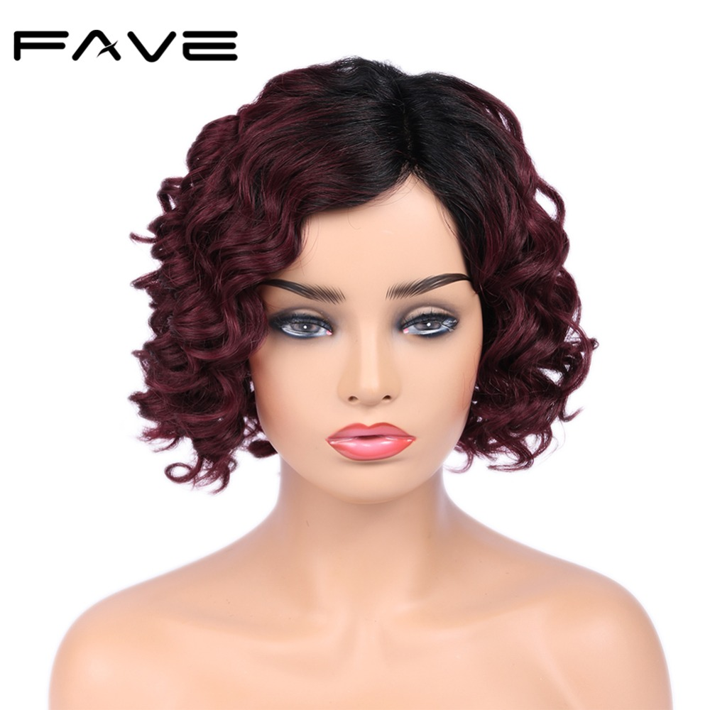 FAVE Hair Lace Side Part Short Curly Brazilian Human Remy Hair Wigs Half Hand Tied TB/Red Wine Color Breathable & Adjustable