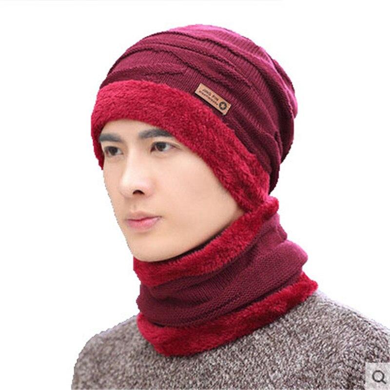 83c4226b029 2017 Women Men Camping Hat Scarf Set Winter Plus Velvet Warm Hats Baggy  Wool Fleece Cap