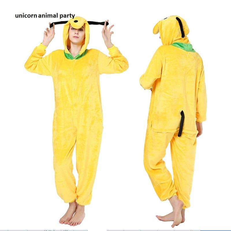 Kigurumi Dewasa Hewan Pluto Piyama Set Sleepsuit Anak Anjing Kuning Onesies Pakaian Tidur Unisex Piyama Halloween Cosplay Costum