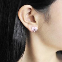 Ruifan Promotion Wholesale Diamond Shape 100% 925 Sterling Silver Stud Earrings for Women Girls Small Jewelry YEA132