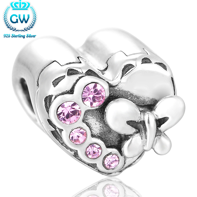 Heart Box Charm Sterling Silver Findings Love Charm Pave Crystal Fit Snake Bracelet GW Brand Jewellery X168