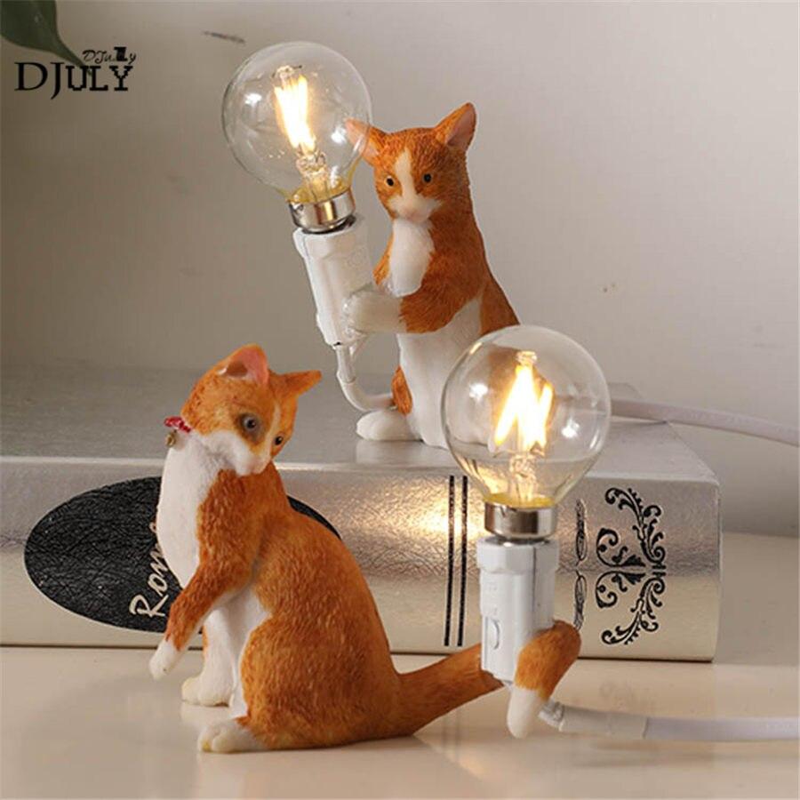 art deco resin cat table lamp for bedroom living room cute kids bedside night lamps loft decor coffee store dining desk light