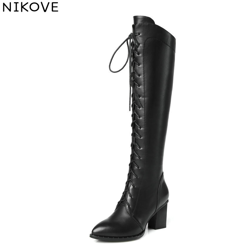 NIKOVE 2018 Women Boots Handmade Square High Heel Over The Knee Boots Short Plush Pointed Toe Comfortable Lady Boots Size 34-42 qutaa 2017 women over the knee high boots all match pointed toe high quality thin high heel pointed toe women boots size 34 43