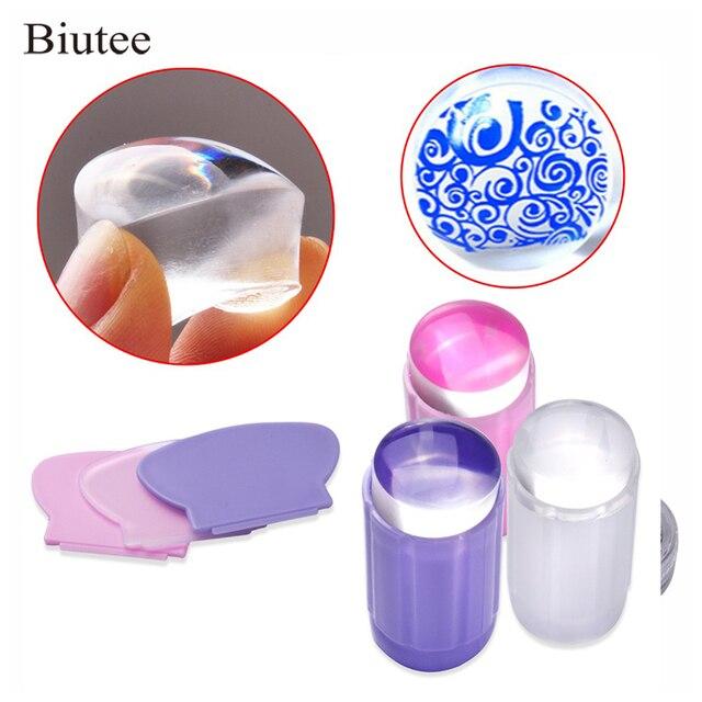 Biutee Clear Silicone Stamper Transparant Jelly Nail Stempelen Stempel Schraper Set Polish Print Transfer Manicure Template Tool