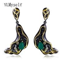Classic Crystal Dangle oorbellen Water Drop Green zirconia Sieraden pendientes largos mujer de fiesta Black oorbellen voor vrouwen