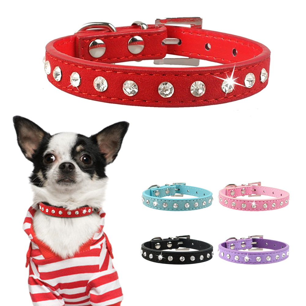 Bling Shiny Rhinestone Pet Cat Puppy Collar Dimante Suede Leather Collars For Small Dogs Cats Chihuahua XS/S/M  6 Colors
