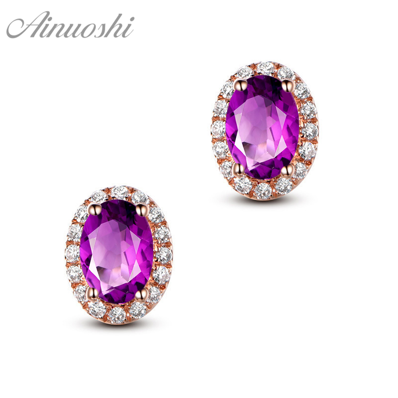 AINUOSHI Natural Amethyst Halo Earring 4ct Oval Cut Gem Engagement Party Women Jewelry Yellow Gold Color 925 Silver Stud Earring neo 6m ublox u blox gps module for mwc apm