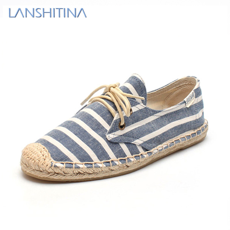2017 new Striped casual canvas flats shoes Women soled shoes fashion female lace up cavans flat espadrilles canvas espadrilles striped flat shoes