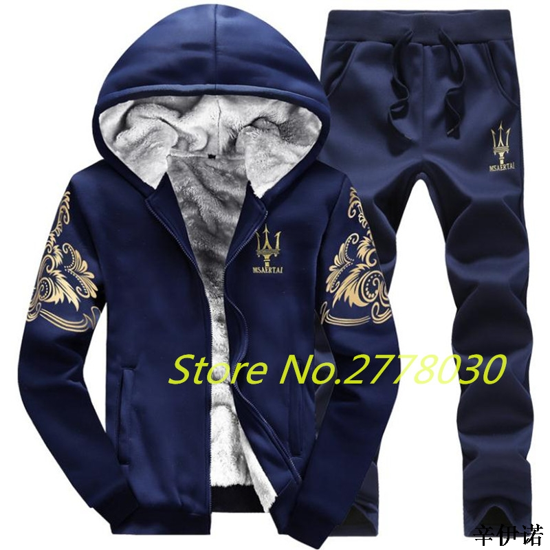 58246843f599f Nuevo 9XL Otoño Invierno traje deportivo para unidades hombre 2 piezas  conjunto chaqueta + pantalón cálido forro polar Sudadera con capucha suéter  ropa ...