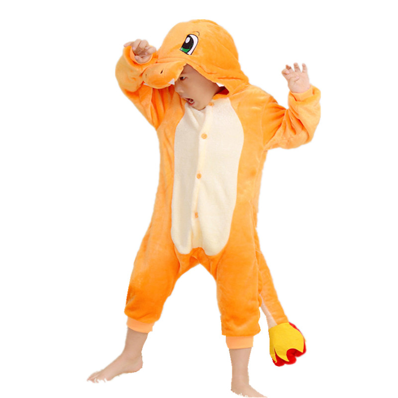 Barns Kigurumi Pokemon Charmander Cosplay Kostym Kids Onesie Kläder För Halloween Carnival New Year Party
