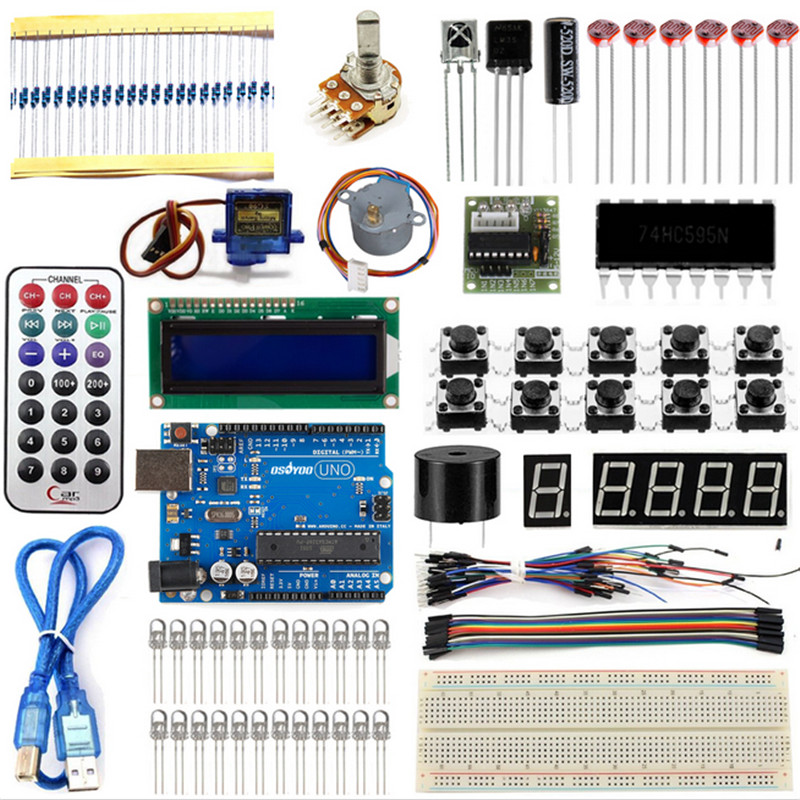 Starter Kit For Arduino UNO R3 Learning Basic Suite For Uno R3 Board Stepper Motor 1602 LCD DIY Project free shipping
